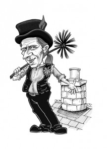 A line drawing of a chimney sweep