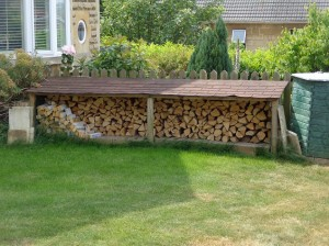a long,low fire wood store