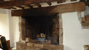 inglenook fire place with staining above