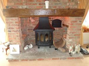 modern appliance set into a inglenook fireplace