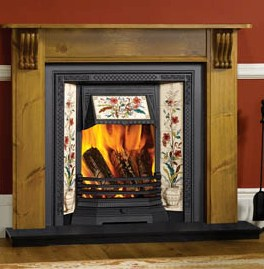 A glowing wood fire in a traditional fireplace
