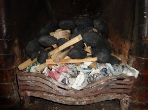 Fire with kindling and coal set