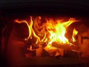 Fire wodburner the kindling has ignited