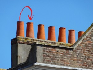 Chimney pots showing arrow out of one into another
