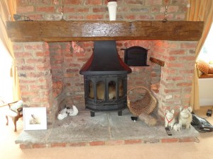 modern appliance set into a inglenook fireplace